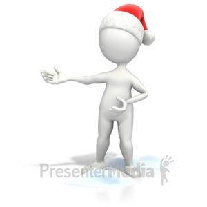ID# 7011 - Christmas Figure Presenting - Presentation Clipart