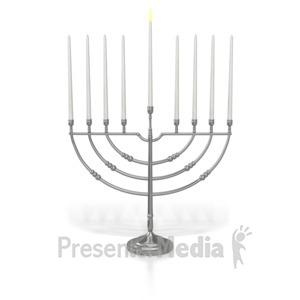 ID# 7014 - Menorah Shamash Candle Lit - Presentation Clipart