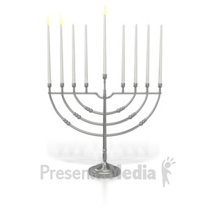 ID# 7016 - Menorah Two Candles Lit - Presentation Clipart
