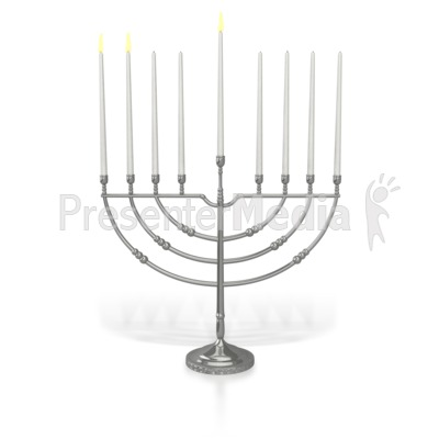 Menorah Two Candles Lit PowerPoint Clip Art