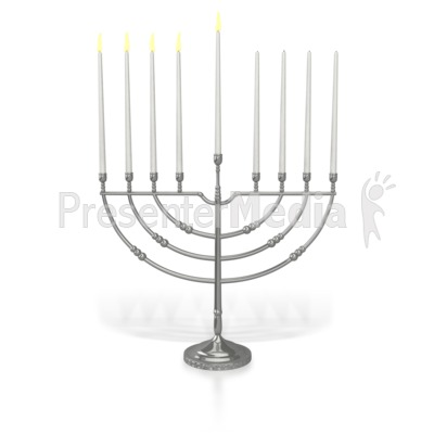 Menorah Fourth Candles Lit PowerPoint Clip Art