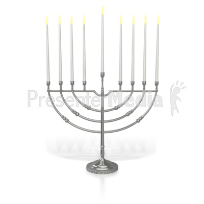 Menorah Eighth Candle Lit PowerPoint Clip Art