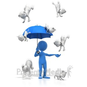 ID# 7040 - Raining Cats And Dogs - Presentation Clipart