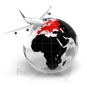 ID# 7067 - Flight To Europe - Presentation Clipart