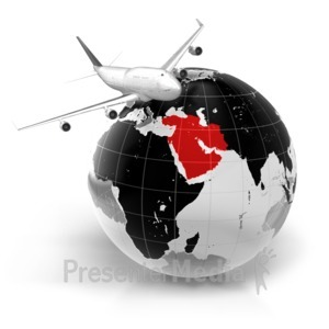 ID# 7068 - Flight To Middle East - Presentation Clipart