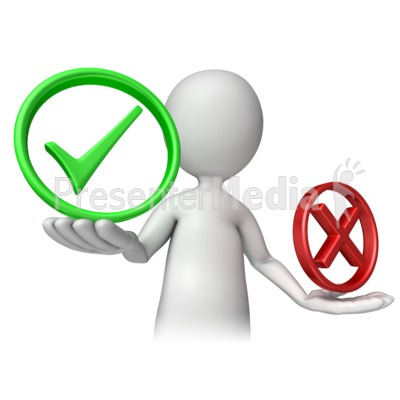 Stick Figure Holding Check Or Cancel PowerPoint Clip Art