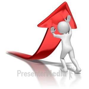 ID# 7096 - Stick Figure Pushing Arrow Upwards - Presentation Clipart