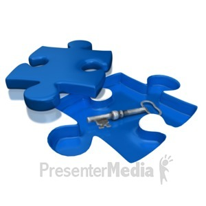ID# 7106 - Key Under Puzzle Piece - Presentation Clipart
