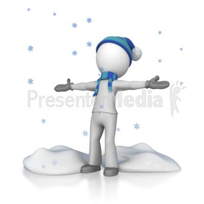 Stick Figure In Falling Snow PowerPoint Clip Art
