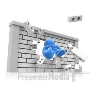 ID# 7118 - Human Cannonball Wall Break - Presentation Clipart