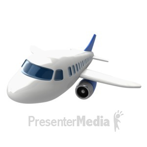 ID# 7142 - Closeup airliner at angled view - Presentation Clipart
