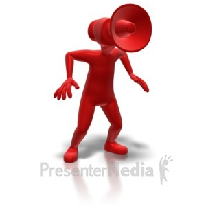 ID# 7145 - Stick Figure With Megaphone Head - Presentation Clipart