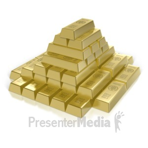 ID# 7177 - Gold Bar Pyramid - Presentation Clipart