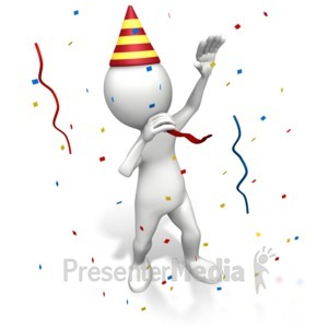 ID# 7180 - Stick Figure Blowing Party Favor - Presentation Clipart