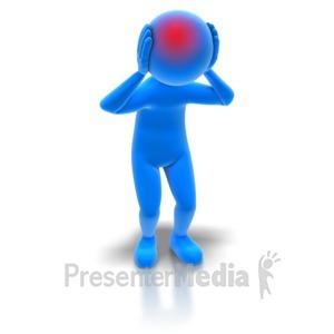 ID# 7209 - Stick Figure With Headache - Presentation Clipart
