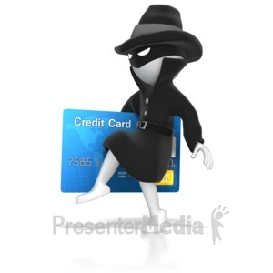 ID# 7276 - Thief Stealing Credit Card - Presentation Clipart