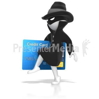 Thief Stealing Credit Card PowerPoint Clip Art