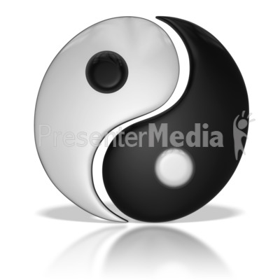 Chinese Yin Yang Symbol Separated PowerPoint Clip Art