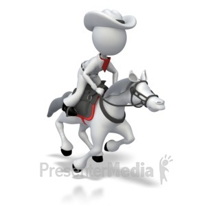 ID# 7333 - Cowboy Riding Horse - Presentation Clipart