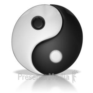 ID# 7360 - Yin Yang Symbol United Together - Presentation Clipart