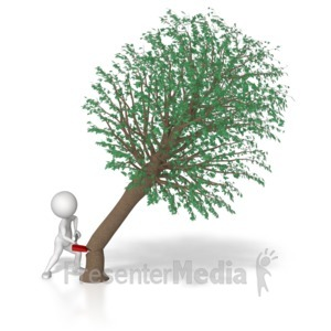 ID# 7412 - Stick Figure Chop Down Tree - Presentation Clipart