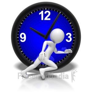 ID# 7435 - Stick Figure Run Clock - Presentation Clipart