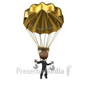 ID# 7448 - Golden Parachute - Presentation Clipart