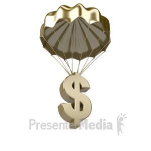 ID# 7463 - Golden Dollar Parachute - Presentation Clipart