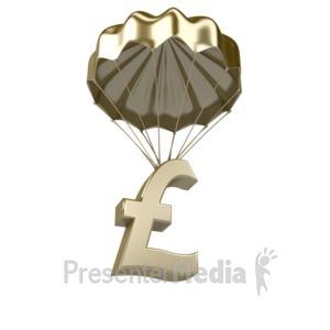 ID# 7465 - Golden Pound Parachute - Presentation Clipart