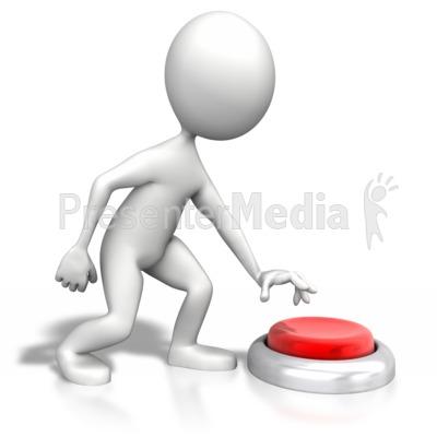 Stick Figure Pushing Large Button PowerPoint Clip Art