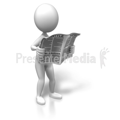 Standing With The News PowerPoint Clip Art