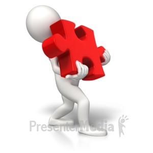 ID# 7515 - Carrying Heavy Puzzle Piece - Presentation Clipart