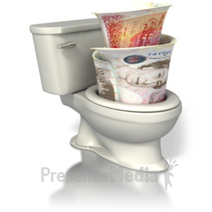 ID# 7537 - British Currency Toilet - Presentation Clipart