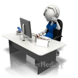 ID# 7540 - Secretary Working At Desk - Presentation Clipart