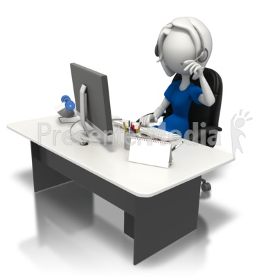 Secretary Working At Desk PowerPoint Clip Art