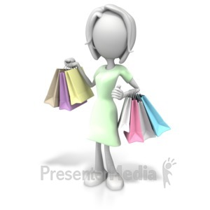 ID# 7557 - Woman Shopping Handful - Presentation Clipart