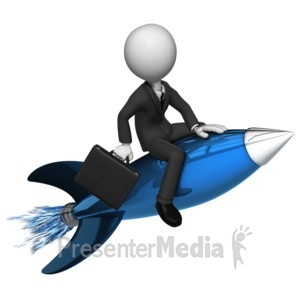 ID# 7584 - Businessman Rides Rocket - Presentation Clipart