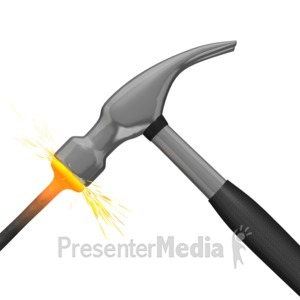 ID# 7610 - Hammer Hitting Nail - Presentation Clipart