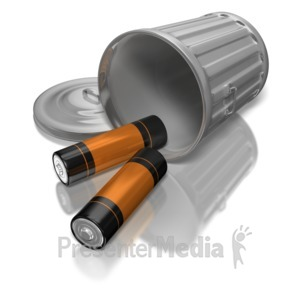 ID# 7617 - Batteries In Garbage Can - Presentation Clipart
