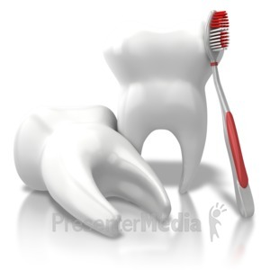 ID# 7622 - Toothbrush Leaning Teeth - Presentation Clipart