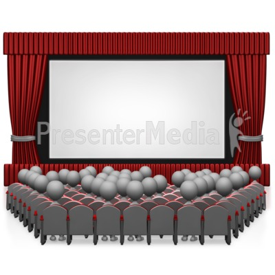 Movie Theater With People PowerPoint Clip Art