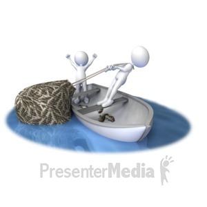 ID# 7639 - Hauling In A Full Net - Presentation Clipart