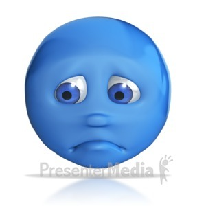 ID# 7644 - Emotion Head Sad Frown - Presentation Clipart
