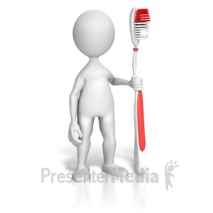 ID# 7650 - Stick Figure Holding Toothbrush - Presentation Clipart