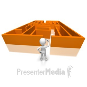 ID# 7667 - Stick Figure Confused By Maze - Presentation Clipart