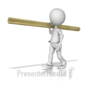 ID# 7671 - Stick Figure Carpenter Carrying Wood - Presentation Clipart