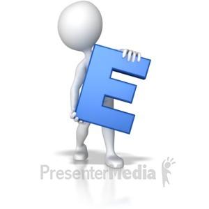 ID# 7746 - Stick Figure Holding Letter E - Presentation Clipart