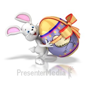 ID# 7754 - Bunny Carrying Easter Egg - Presentation Clipart