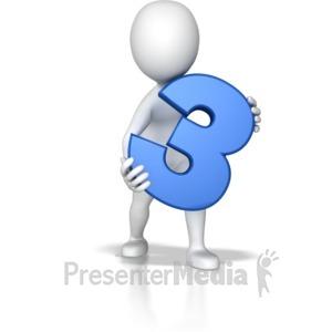 ID# 7792 - Stick Figure Holding Three - Presentation Clipart