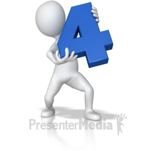 ID# 7793 - Stick Figure Holding Four - Presentation Clipart